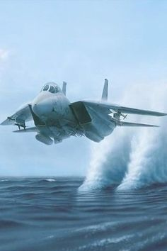 F14 Tomcat (water is pulled up after the engine intakes pass by). No actual vapour cone.                                                                                                                                                                                 More #jetfighter