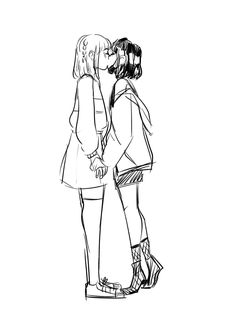 yoonji + namjoo Drawing Reference Poses, Drawing Poses, Drawing Sketches, Yuri, Character Art, Character Design, Lesbian Art, Dibujos Cute, Cute Gay