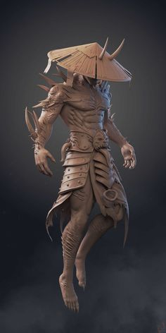 Title: Japanese ancient warrior Name: hi guys i have to share my personal project based on amazing troll juncha concept .recently i m working on lowpoly. hope you guys like it. Zbrush Character, 3d Model Character, Fantasy Character Design, Character Design Inspiration, Character Concept, Character Art, Concept Art, Samurai Artwork, Ninja Art