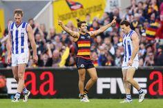 Jared Petrenko kicks a vital goal for the Crows