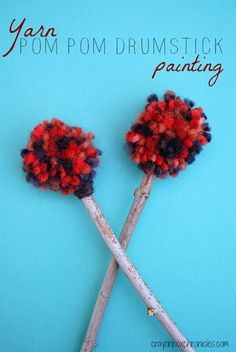 Yarn Pom Pom Drumstick Painting & Tutorial by Crayon Box Chronicles. Explores process-based art, music, and sensory.