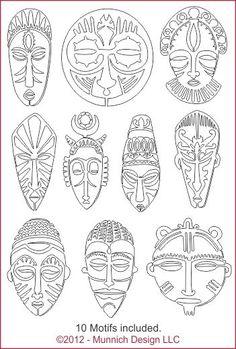 Munnich Design - Quilt Recipes: Digital Quilting Pattern - Browse All Patterns africanartprojects African Art Projects, African Crafts, Armband Tutorial, Afrique Art, Mask Drawing, Arte Tribal, Masks Art, African Masks, Art Graphique