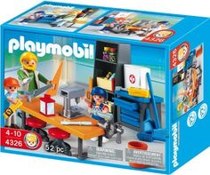 Playmobil 4326 School Set Woodshop Class by Playmobil. $14.50. Part of the Playmobil System. Realistic detail. Includes workbench with retractable legs.. Be careful when you use the tools during Woodshop Class.. Ages: 4 +. The Playmobil Woodwork Class includes a vice, a pillar drill, a handsaw and set square. There is a first aid kit, a broom and comes complete with a teacher and two students.