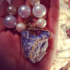 Rugh Natural Sodalite Necklace rough gemstone by GirlyCutie #sodalite_necklace #necklace #handmade #natural #rough_gemstone #gemstone #rhinestone #pearls #pearl_necklace #necklace_for_women #fashion #stylish #amazing #beautiful #jewelry #handcrafted #natural_sodalite