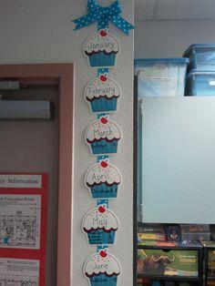 Primary Paradise: Math Wall and Birthday Display Birthday Chart Classroom, Birthday Bulletin Boards, Birthday Charts, Kindergarten Classroom, Preschool Birthday Board, School Displays, Classroom Displays, Classroom Decor, Classroom Rules