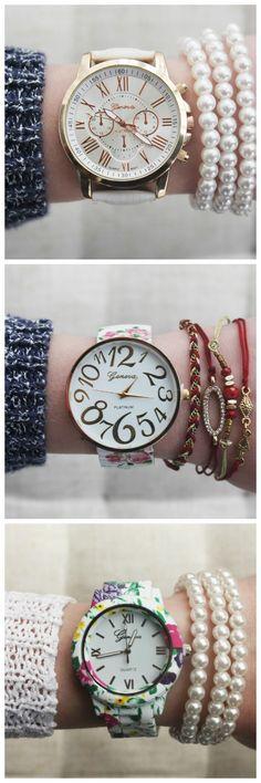 Fashion Dress Accessory PU Leather White Band Watch