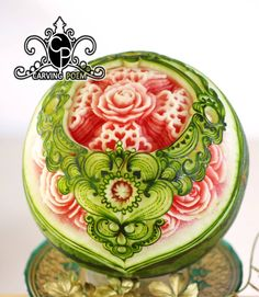 Party Food Trays, Party Platters, Watermelon Carving, Watermelon Fruit, Fruit And Vegetable Carving, Food Carving, Fruit Arrangements, Fruit Art, Buffet