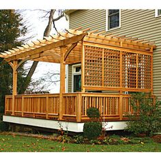 Patio pergola with fencing. Love the tall pergola and the fence is a fun idea, to separate the space from the yard. Patio Pergola, Deck With Pergola, Wooden Pergola, Backyard Patio, Pergola Ideas, Decks With Privacy Walls, Covered Pergola, Deck Covered, Pergola Screens