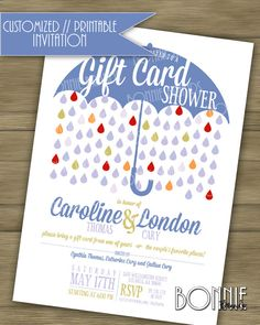 "CUSTOMIZED // PRINTABLE // Couple's Wedding Shower Invitation // ""Gift Card"" theme // Blue @bonniebrands #weddingshower #giftcard"