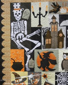"""close up, Happy Hauntings quilt by Debra Elenbaas, quilted by Diane Beauchamp. Pattern: """"Happy Hauntings"""" by Verna Mosquera at The Vintage Spool. Photo by Quilt Inspiration"""
