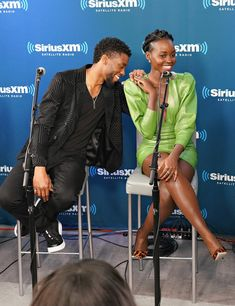 """I love the laugh between Lupita Nyong'o and Chadwick Boseman. Those animal print shoes ain't bad either. --> """"We Want Whatever Lupita Nyong'o Has To Make All Of Her #BlackPanther Castmates Fall In Love"""""""
