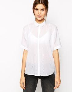 Camisa extragrande blanca de Warehouse