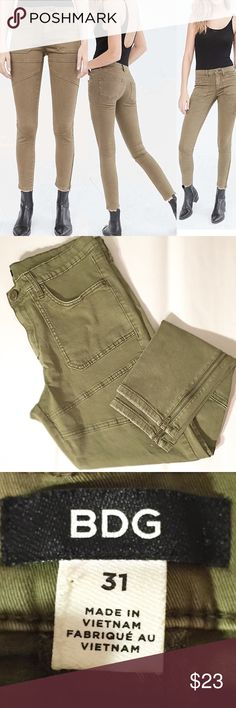 Urban Outfitters BDG army green zipper ankle pants Used, in near- perfect condition! Cropped- style ankle pants ! Size 31 (12). BDG Pants Ankle & Cropped