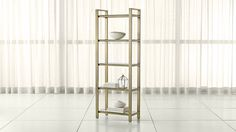 """$699  Dimensions: Width: 28""""  Depth: 14""""  Height: 76.25""""  Pilsen Brass Bookcase 