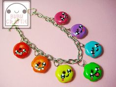 Rainbow Donuts Bracelet Polymer Clay by bubucraftie on Etsy, $15.00