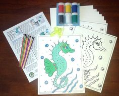 Jenny Beach the SeaHorse painting kit for children's parties (adults like it also). You get a full color painted image and 8 black outlined seahorse images on quality water color paper. Step by Step instructions, paints and 8 brushes and glitter pens. That is only $2.50 per child.   $19.99 each kit. To order: http://www.smilingshamrock.com/product-category/art-kits
