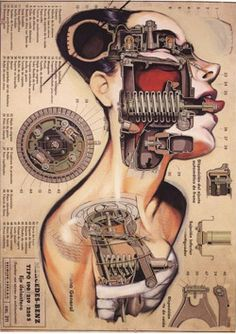 Mechanical woman by Fernando Vicente {contemporary artistic female human anatomy illustration} fernandovicente. Illustration Arte, Illustrations, Botanical Illustration, Collage Poster, Science Fiction Kunst, Mechanical Art, Robot Girl, Spanish Artists, Retro Futuristic