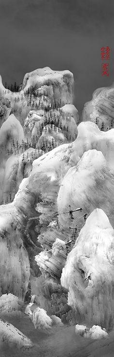 """""""Snow City No.3 and 1"""", 2009, 64 x 200 cm, Yang Yongliang"""