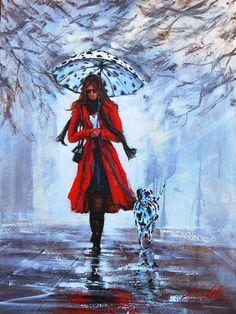 Painting rain Helen Cottle, Williamstown, Victoria, self-taught artist, realist-impressionist style, watercolors, acrylic, brushstrokes, mixed media, art
