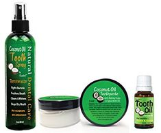 Coconut Oil Teeth Cleaning Natural Oral Care Kit – Toothpaste – Tooth Spray – Tooth Oil Review