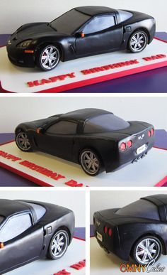 Car cake for the Groom's cake Crazy Cakes, Fancy Cakes, Cute Cakes, Fondant Cupcakes, Cupcake Cookies, Fondant Bow, Fondant Tutorial, Fondant Flowers, Car Cake Tutorial
