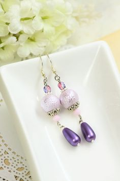 Lilac Pearl Earrings Drops Glass Pearl Dangles by TrinketHouse