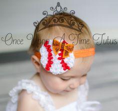 Choice Of Color - Baseball Shabby Rosette Shape Headband - Little Girls or Toddler Hairbow - Newborn Baby Hair Bow Spring Summer Sport Team by OnceUponATimeTuTus on Etsy