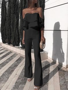 Eleganter schulterfreier schleichender Overall Jumpsuit Outfit Dressy, Ruffle Jumpsuit, Jumpsuit With Sleeves, Jumpsuit Dress, Strapless Jumpsuit, Elegant Jumpsuit, Hijab Outfit, Black Jumpsuit, Evening Outfits