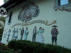Helen GA 075. Hofbrauhaus International in Helen, Georgia. Cool Mural on side of building.