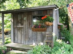 The creators of these amazing outdoor projects saw value in discarded ultra-cheap items and sweat equity. Cozy chairs unique container gardens garden art potting benches tool sheds and more. Backyard Sheds, Outdoor Sheds, Outdoor Rooms, Garden Sheds, Shed Design, Garden Design, Garden Art, Roof Design, Patio Design