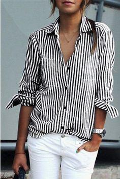 Chic Shirt Collar Long Sleeve Striped Women's Shirt