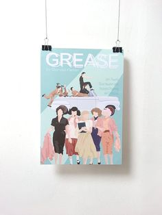 Affiche de film Grease - Poster Randal Kleiser A3 Print Illustration by Minuscule Motion Sold on Etsy Movie Poster - Movie Print Present Idea - Wish list - Christmas Present
