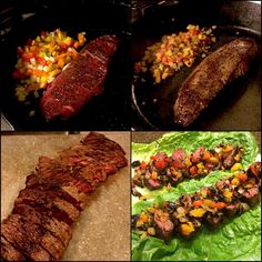 Fajit-ahhhhhs  I'm in Texas and they know Mexican food but it's tough to pass on the chips and queso so instead, I made some VERY healthy and VERY tasty fajitas of my own  1⃣ 1 pound pasture raised flap steak (first time buying that type of steak and even though the name makes you go Eww 😁 it was super good) seasoned with salt and pepper 2⃣ diced onions, red, yellow and green peppers and tomatoes 3⃣ cook all at the same time in a cast iron skillet 4⃣ place on romaine leaves  I left mine at…