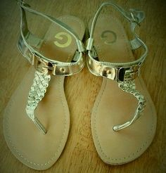 Guess sandals, golden, G by guess logo, braided T strap