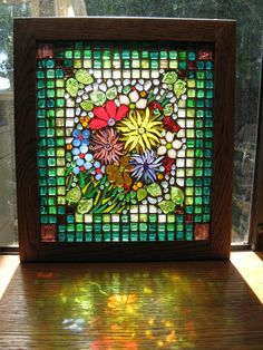 I've searched for years for a stained glass window to rival the one in my childhood home. Stained Glass Flowers, Stained Glass Designs, Stained Glass Projects, Stained Glass Patterns, Stained Glass Art, Stained Glass Windows, Mosaic Art, Mosaic Glass, Mosaic Crafts