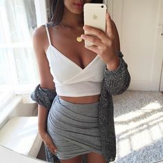 Cute outfit. Dressy outfit. White cropped top  with a grey Bodycon skirt.
