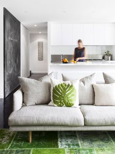 Contemporary Decor - Home Decoration Home Living Room, Living Spaces, Living Area, Linen Couch, Linen Pillows, Cushions, Contemporary Decor, Style At Home, Family Room