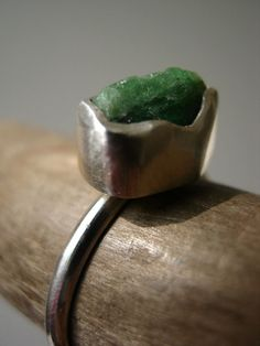 Rough Raw Emerald Ring in Sterling and Pure by metalmorphoz
