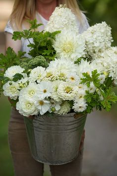 We love offering bulk buckets of blooms for DIY weddings. This bucket was harvested in August for an event. Both mixed buckets and custom colour harvests (like the all white custom harvest you see here) are available. Diy Flowers, Wedding Flowers, September Flowers, Flower Farm, Natural Looks, Dahlia, Diy Wedding, Floral Arrangements, Harvest