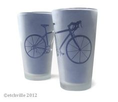 Bicycle Pint Glasses Frosted by etchville on Etsy