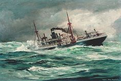 Otto Fisher - Tramp Steamer Merchant Navy, Merchant Marine, Great Lakes Ships, Sea Storm, Steam Boats, Ship Paintings, Boat Art, Stormy Sea, Boat Painting