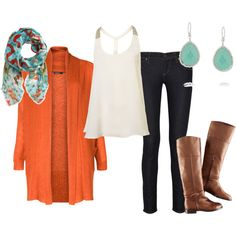 """Orange and turquoise"" by carriejohnson17 on Polyvore"