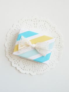 Yellow and blue washi tape package.
