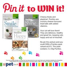 Re-pin this image and you could WIN a Purritos treat pack for your feline friend.
