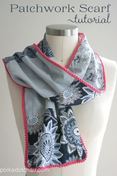 Could also make this with fleece scraps for a fun fleece scarf.~~Patchwork Scarf Tutorial on the Polka Dot Chair Blog