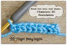 Playin' Hooky Designs: Chainless Single Crochet Foundation