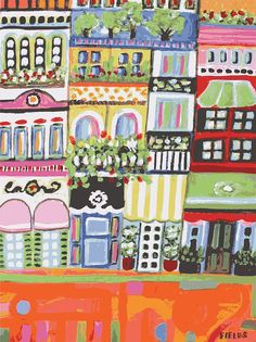City Art Print Avenue of Window Boxes - Print by Karen Fields 11 x 14