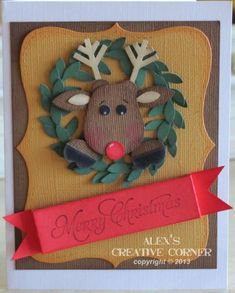Rudolph Punch Art christmas cards, christma card, card inspir, punchart, card christma, xmas card, card galor