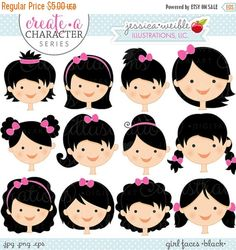 ON SALE Black Hair Girl Faces Create A por JWIllustrations en Etsy