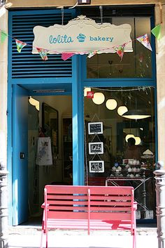 Lolita Bakery in Barcelona has that warm, feminine feel that welcomes you in off the street. Just A City Boy, Barcelona Restaurants, Coffee Places, Bakery Business, Cafe Bistro, Lovely Shop, Shop Fronts, Pop Up Shops, Sweets